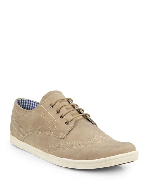 nick shoes ben sherman nick brogue sneakers in beige for