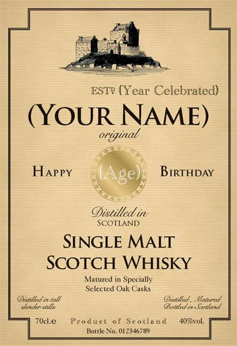 liquor label template birthday whiskey bottle label design aspirations