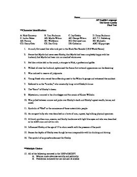 The Great Gatsby Character Worksheet Answers by The Great Gatsby Unit Test With Answer Key By Mwhite Tpt