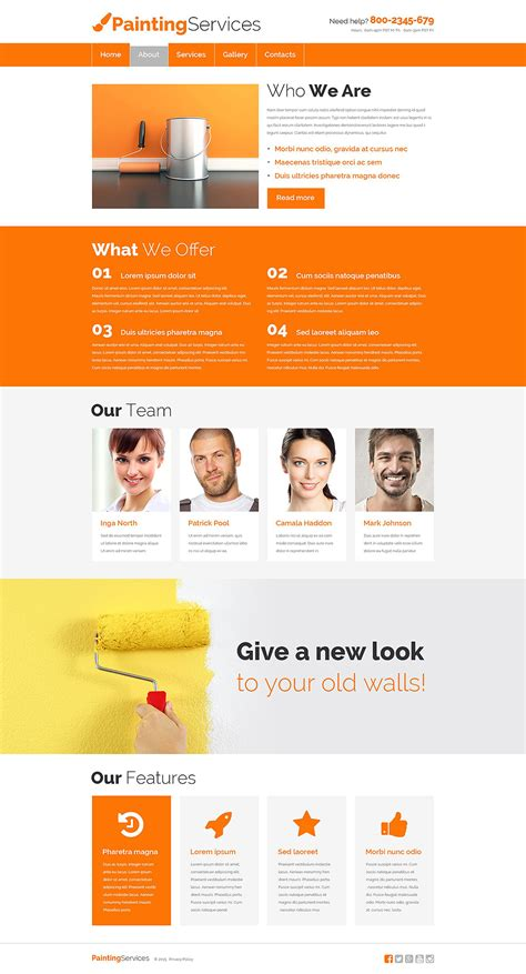Painting Company Responsive Website Template 55471 By Zemez Website Templates Painting Company Website Templates Free