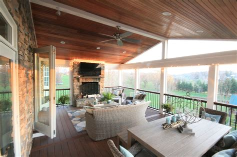 fireplace on screened porch maryland screen porch and deck contractor builds screen