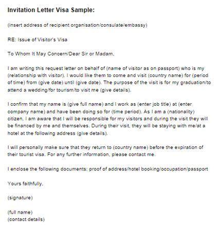 Sle Invitation Letter For Visitor Visa For Wedding