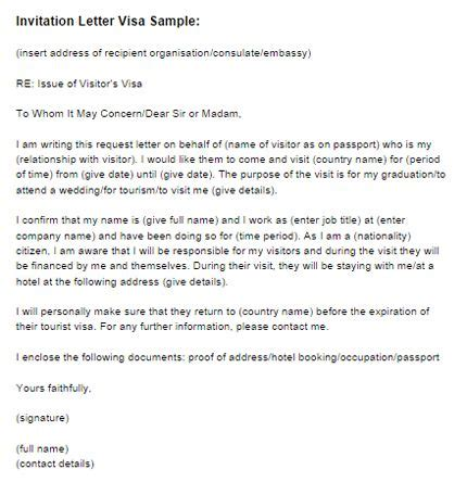invitation letter visa sample invitation letter visa
