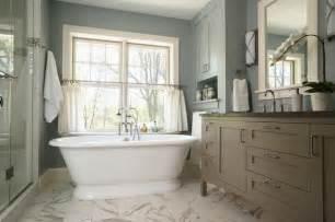 Freestanding Bath Shower Curtain serene escape master bath traditional bathroom