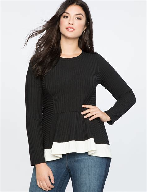 Contrast Trim Ribbed Top ribbed sleeve top with contrast trim s plus