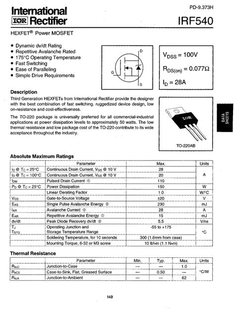 transistor irf 540 irf540 datasheet pdf pinout hexfet power mosfet