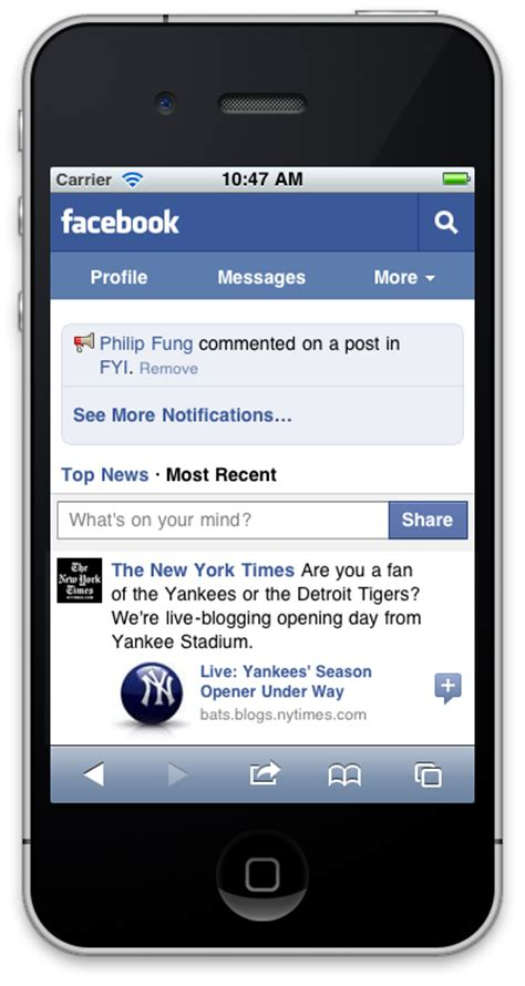 full version fb on mobile facebook revs its mobile site for the iphone and more