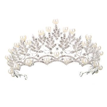 wedding bridal crystal rhinstone pearl silver queen crown