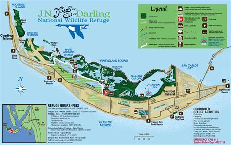 sanibel island map j n quot ding quot national wildlife refuge florida national wildlife refuges