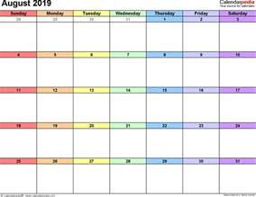 Calendar For August August 2019 Calendars For Word Excel Pdf