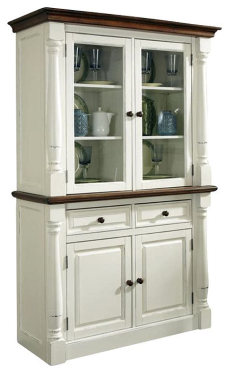 white kitchen hutch cabinet home styles monarch buffet and hutch in white and oak