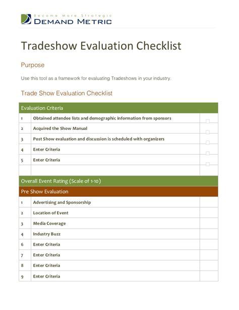 trade show checklist and marketing tips jyler tradeshow evaluation checklist