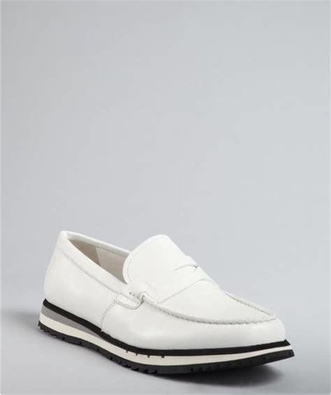 white prada loafers prada prada sport white leather athletic loafers in white
