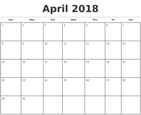 printable monthly calendar 2018 april 2018 monthly calendar template