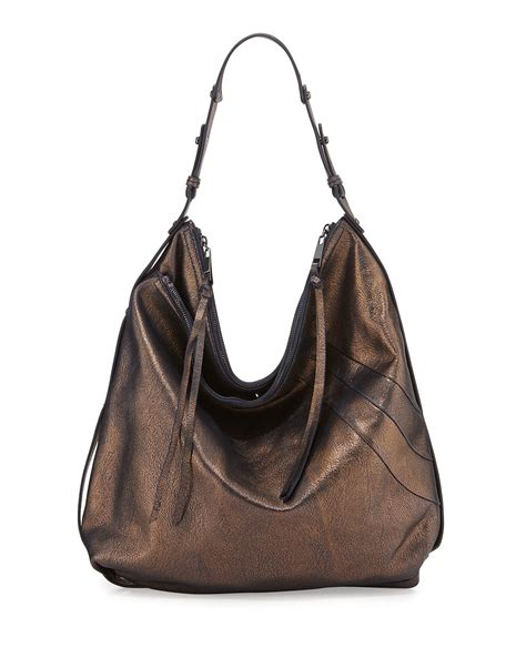 hobo leather bags kooba alina washed leather hobo bag in metallic lyst
