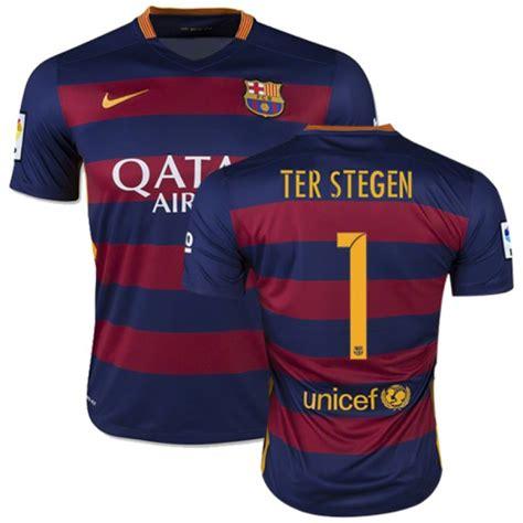 Tshirt Barcelona Blaugrana 16 Ter Stegen barcelona 1 marc andre ter stegen blue stripes home replica soccer jersey 15 16 spain