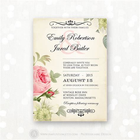 vintage wedding invitations with roses printable wedding invitation pink roses vintage weddings