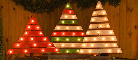 diy christmas trees  marquee lights
