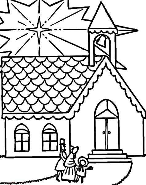 Good Family Visits Church On Christmas Coloring Pages With Church Colouring Pages