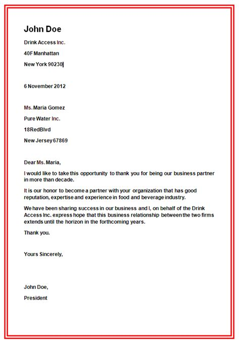 Business Letter Template For Open Office Formal Business Letter The Best Letter Sle