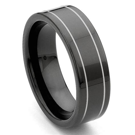 black tungsten carbide wedding band ring w grooves