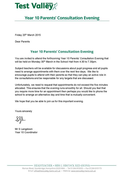 Parent Letter Home From Test Valley School Year 10 Parents Consultation Evening