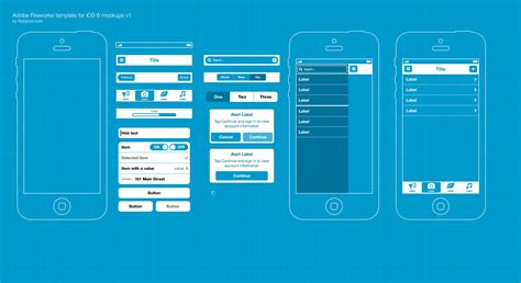 free app template free adobe fw template for ios 6 wireframing blueprints