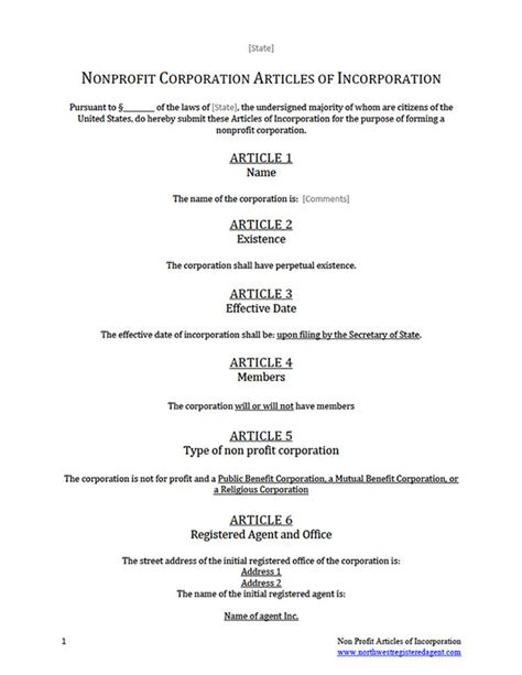 articles of organization template free articles of incorporation non profit template