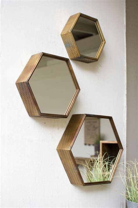 kalalou hexagon mirrors  antique brass finish set