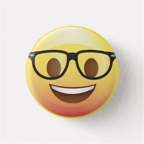emoji nerd happy nerd glasses emoji face pin zazzle com