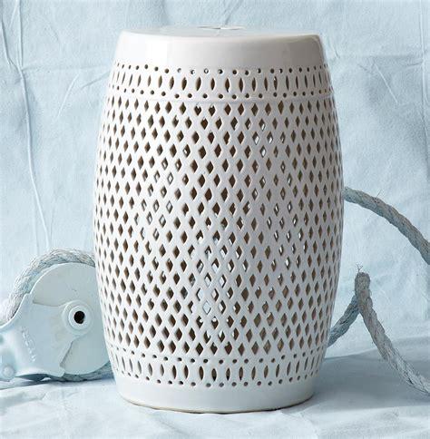White Garden Stools granada coastal style pierced white garden seat stool kathy kuo home
