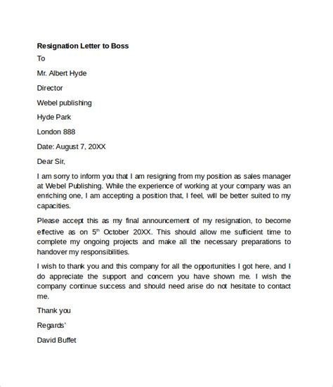 Resignation Letter To Manager Sle Resignation Letter Exle 10 Free Documents In Word Pdf
