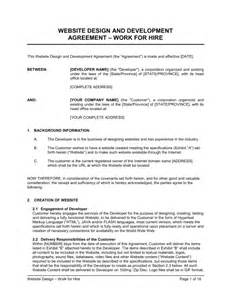 work made for hire agreement template website design agreement template sle form