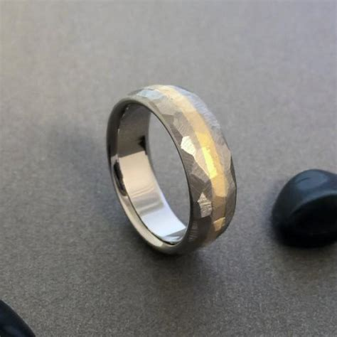 Anting Ring Titanium Gold 3 gold titanium ring mosaic finish titanium band yellow gold ring mens titanium ring womens