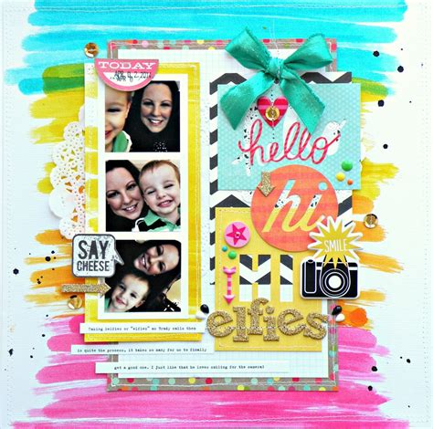 scrapbook layout with lots of pictures selfies scrapbook page me my big ideas