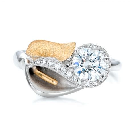 custom two tone gold calla lilly engagement ring 101170