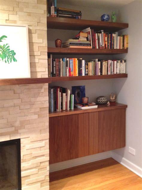 modern built in shelves built in walnut wood shelves and cabinet modern living