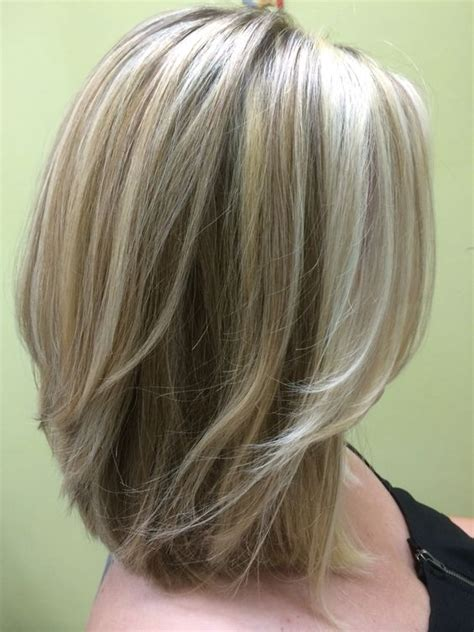 blonde medium length curly hairstyles front and back views three shades of blonde shoulder length layered bob hair