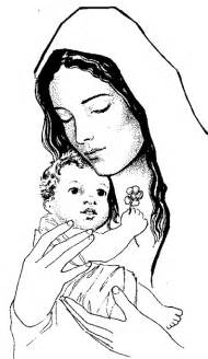 catholic coloring page of baby jesus and his mother mary