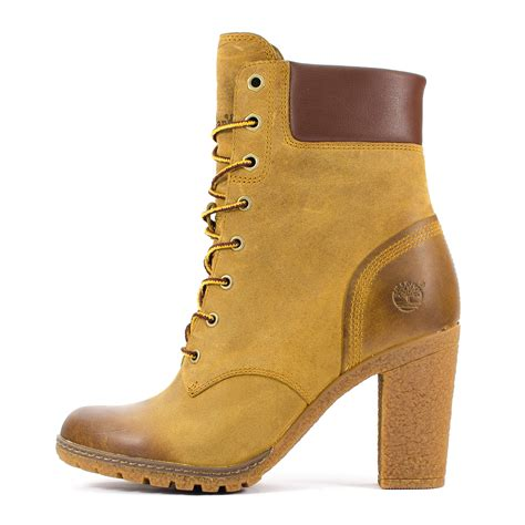 womens timberland glancy 6 inch brown lace up heel boots