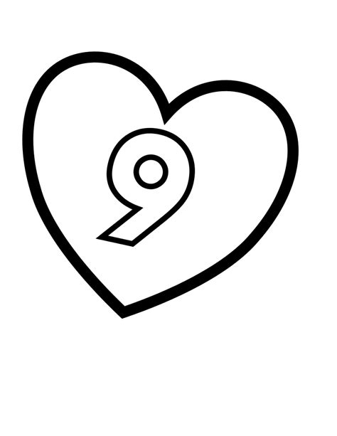 coloring pages for boys dotcom svg file valentines day hearts number 9 at coloring pages for