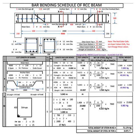bar bending schedule of rcc beam   bar bending schedule