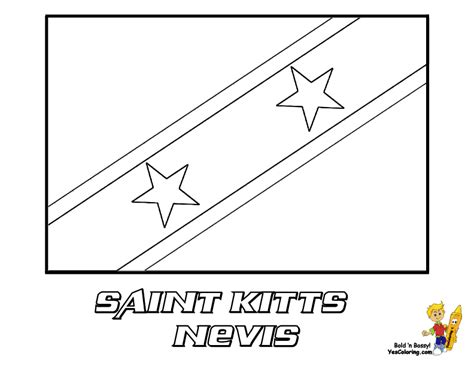 St Grande Kid grand flag coloring pictures flags of kitts