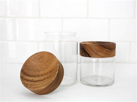 wooden kitchen canisters wood glass canisters modern bathroom canisters by