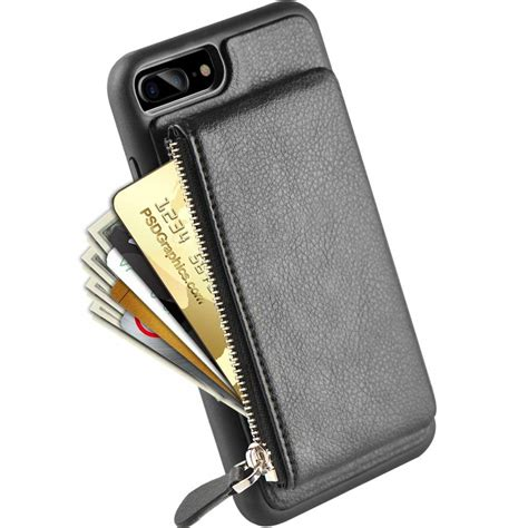 iphone   zipper wallet case iphone   leather case  kickstand lameeku credit card