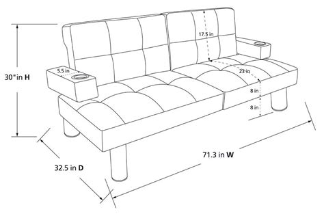 dimensions of futon futon length bm furnititure