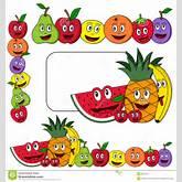 cartoon fruits (apple, pear, orange, banana, cherries, strawberry ...