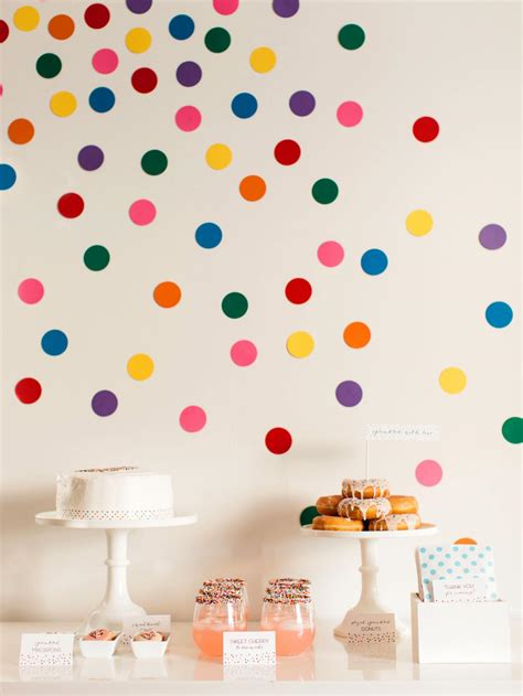 Confetti Decoration diy confetti wall dots for sprinkles baby shower how tos