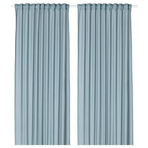 used drapes vivan curtains 1 pair light blue 145x250 cm ikea