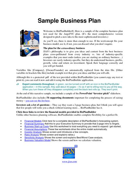 sle of a business plan for a cleaning